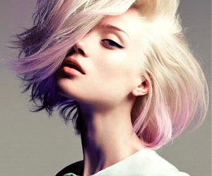 hair, model, and purple image