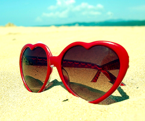 beach, heart, and heart-shaped glasses image