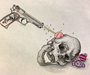 skull, candy, and gun image
