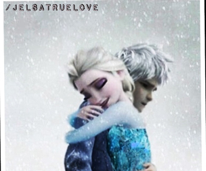 hug, jack frost, and elsa image