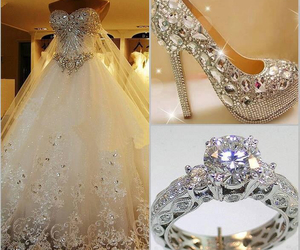 dress, wedding, and ring image