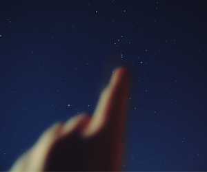 stars, night, and hand image
