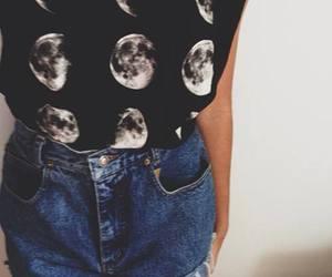 girl, moon, and fashion image