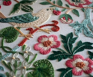 embroidery, bird, and flowers image