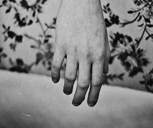 black and white, hand, and b&w image