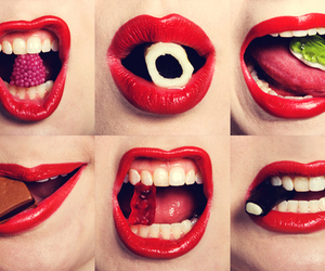 lips, red, and food image