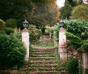 vintage, garden, and stairs image