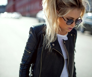 black, hairstyle, and sunglasses image