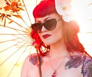Tattoos, fashion, and red hair image