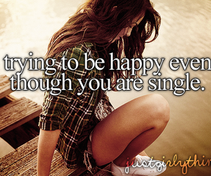 single, happy, and quotes image