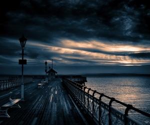 dark, sea, and sky image