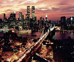 city, empire state, and city lights image