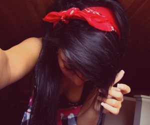 girl, hair, and black hair image