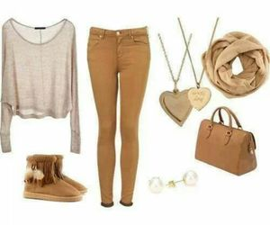 outfit, brown, and scarf image