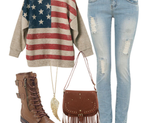 outfit, usa, and jeans image