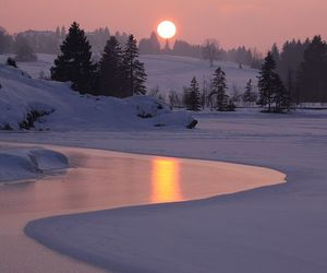 winter, sunset, and snow image