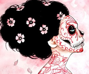 day of the dead, sugar skull, and cherry blosson image