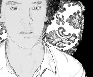 drawing, sherlock holmes, and benedict cumberbatch image