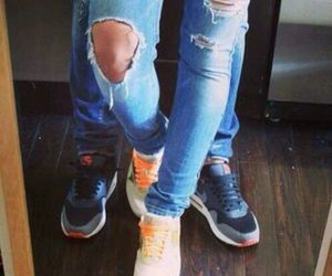 couple, nike, and jeans image
