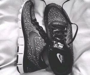 black, runningshoes, and fashion image