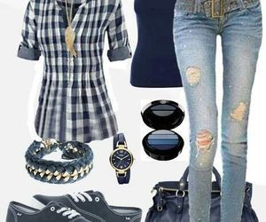 outfit, blue, and jeans image