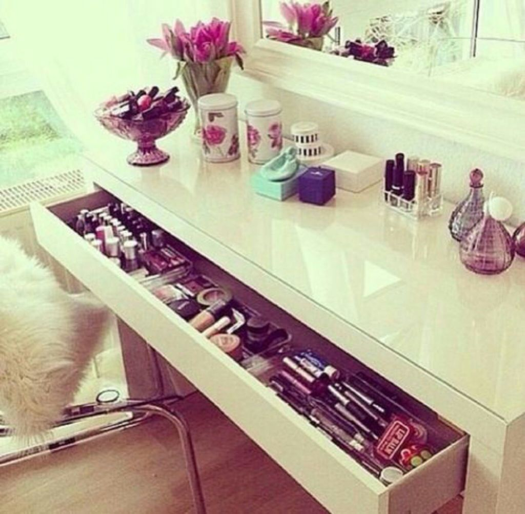 desk, makeup, and white image