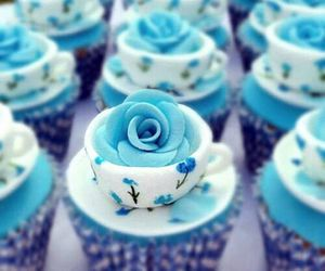 cupcake, blue, and rose image