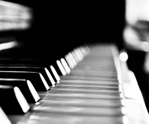piano, keys, and black and white image