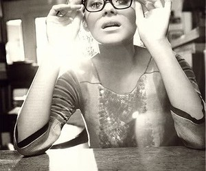 glasses, Marion Cotillard, and black and white image