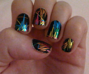 black, gold, and manicure image