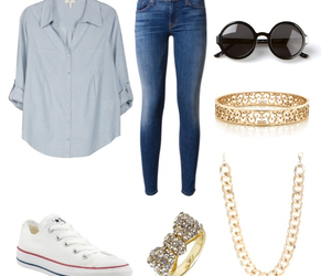 blouse, blue, and converse image