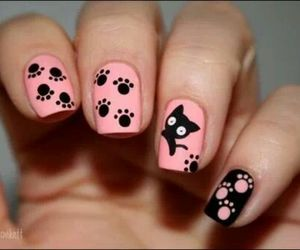 <3, cat, and pink image