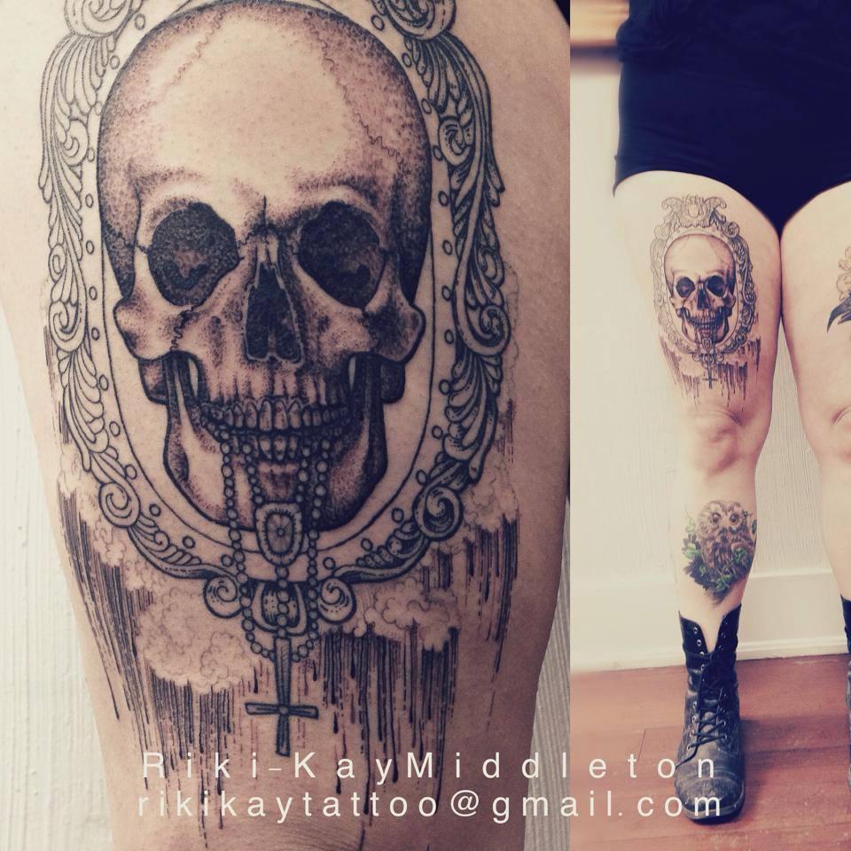ornate frame tattoo grey tattoostumblr shared by abbie on we heart it