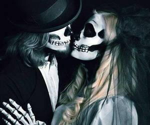 love, couple, and skull image