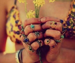 flowers, rings, and hippie image
