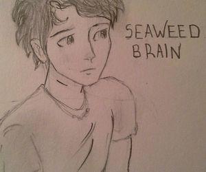 drawing, percy jackson, and seaweed brain image