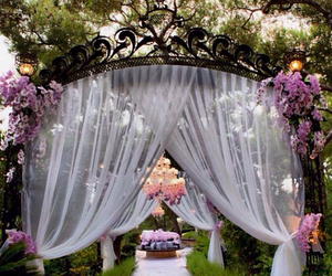 bride, flowers, and decor image