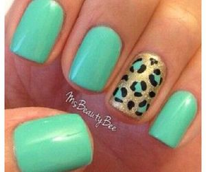 leopard print, pretty, and turquoise nails image