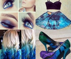 blonde, blue ombre, and blue image