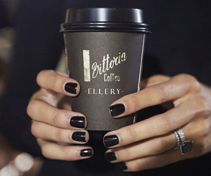 coffee, nails, and black image