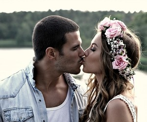 beautiful, couple, and flowers image
