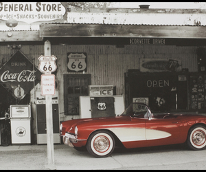 canvas, Corvette, and gas station image