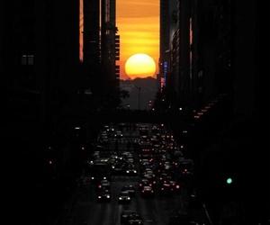 sunset, city, and sun image