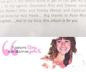 cory, lea michele, and true love image