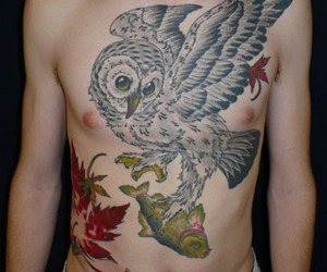 chest, chest tattoo, and tattoo image