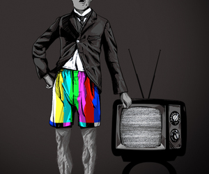 tv, chaplin, and black and white image