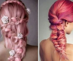 braid, colorful hair, and dyed hair image