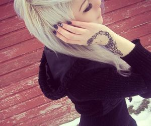 dyed hair, hair, and tattoo image
