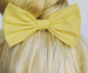 bow, blonde, and bun image