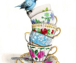 bird, cup, and drawing image